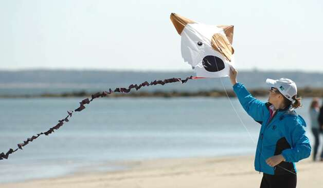 Stephanie Schnabel of Riverside, prepares to launch her canine-themed kite during the annual Kite Flying Festival at Greenwich Point, Saturday afternoon, April 10, 2010. Photo: Bob Luckey / Greenwich Time