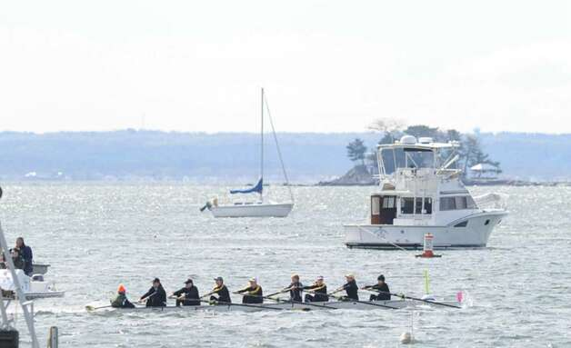 The Greenwich Academy freshman shell of 8, in a morning race, during the NYPPEX Greenwich Invitational Sprints, Greenwich Harbor, April 10, 2010.  They are left to right, Carly Risman, Caroline Ostrover, Galen Hughes, Caroline King, Carolyn Kiernan, Charlotte Jamar, Chloe Polikoff, Jojo Little and Taylor Ohman. Photo: Bob Luckey / Greenwich Time