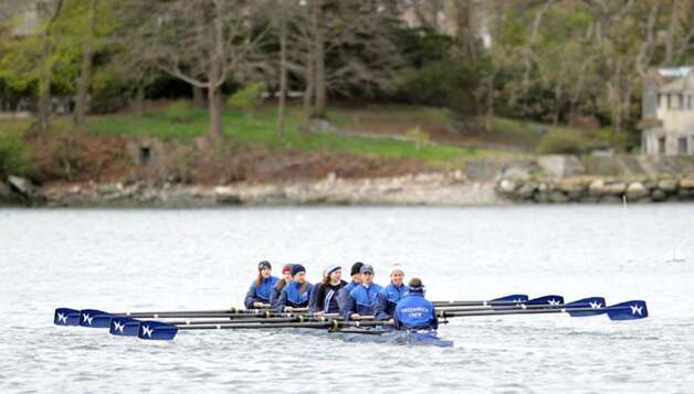 A Greenwich Club crew team warms-up during the NYPPEX Greenwich Invitational Sprints, Greenwich Harbor, April 10, 2010. Photo: Bob Luckey / Greenwich Time