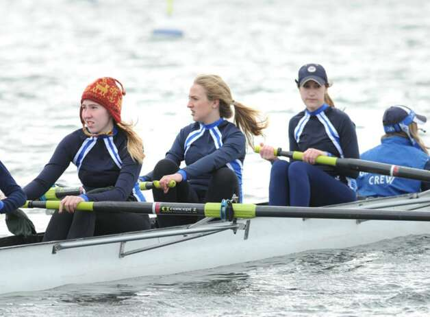 Grace Ingalls, left, and her Greenwich Club crew teammates aboard their 4 person shell during the NYPPEX Greenwich Invitational Sprints, April 10, 2010. Photo: Bob Luckey / Greenwich Time