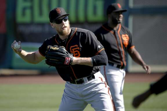 Hunter Pence, 8 during the San Francisco Giants spring training workouts at Scottsdale Stadium on Wed. February  24, 2016, in Scottsdale, Arizona