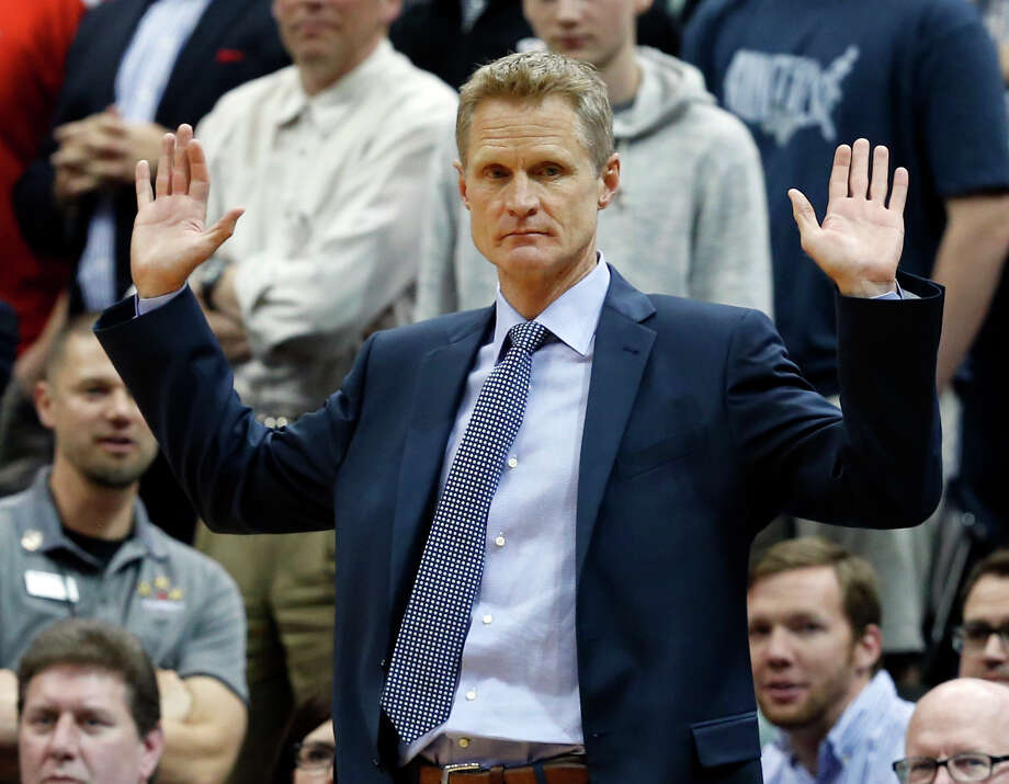 Golden State Warriors head coach Steve Kerr coaches in the second half of an NBA basketball game against the Minnesota Timberwolves Monday, March 21, 2016, in Minneapolis. The Warriors won 109-104. Photo: Jim Mone, AP / AP