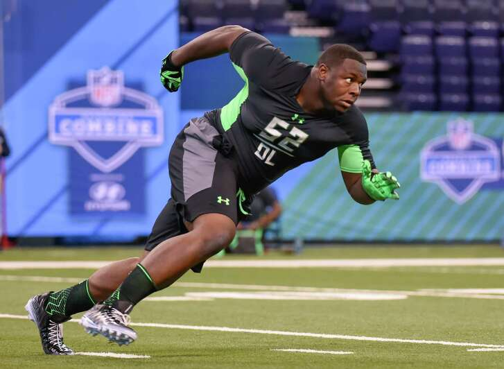 Texas defensive lineman Hassan Ridgeway runs a drill at the NFL Scouting Combine on Feb. 28, 2016, in Indianapolis.
