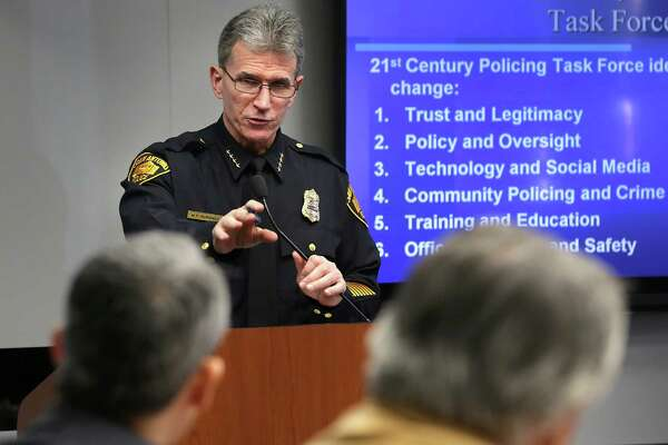 San Antonio Police Chief William McManus answers a question from Councilman Ron Nirenberg as he makes a presentation to city council on Wednesday, Jan. 27, 2016, concerning police reform initiatives regarding use of force and the protection of citizens' civil rights.