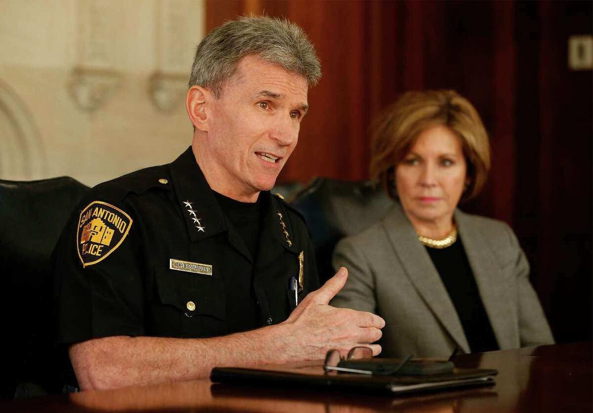San Antonio Police Chief William McManus and City Manager Sheryl Sculley meet with the Express-News editorial board regarding policing reform on Thursday, Mar. 3, 2016. McManus and Sculley are two of the highest-paid employees in the city.