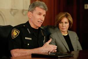 San Antonio Police Chief William McManus and City Manager Sheryl Sculley meet with the Express-News editorial board regarding policing reform on Thursday, Mar. 3, 2016. (Kin Man Hui/San Antonio Express-News)