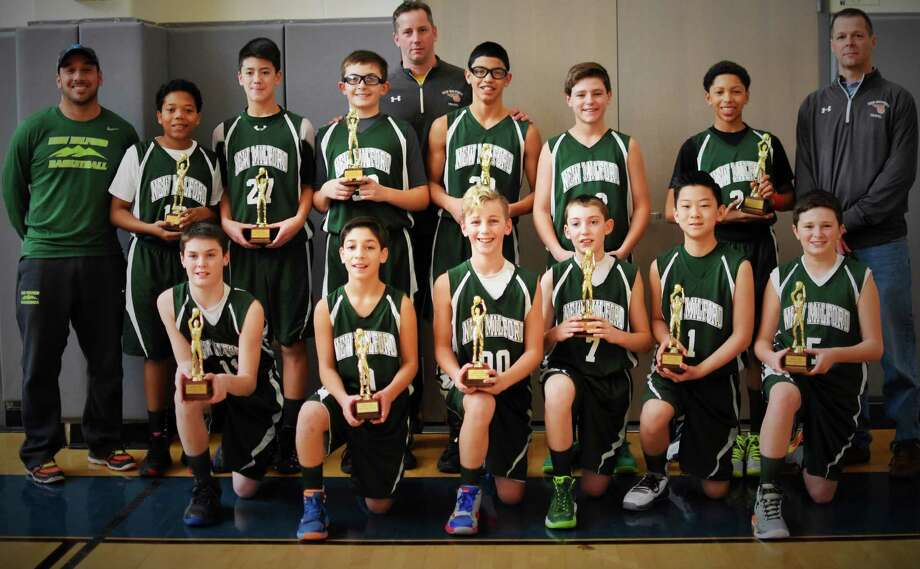 The New Milford Youth Basketball Organization's seventh-grade boys' travel team, the New Milford Knights, recently completed their season as champs. The team is made up of, from left to right, in front, Nathan Lawson, Jack Coloneri, Aiden Tooley, Justin Leclair, Ethan Jung and Luke Hassiak, and in back, Vito Coloneri, Michael Croker, Alec Llerena, Sam Tarrant, Keith Tooley, Eric Diaz, Nick Tomasello, Terrell Williams and Todd Lawson. Photo: Courtesy Of The New Milford Knights / The News-Times Contributed