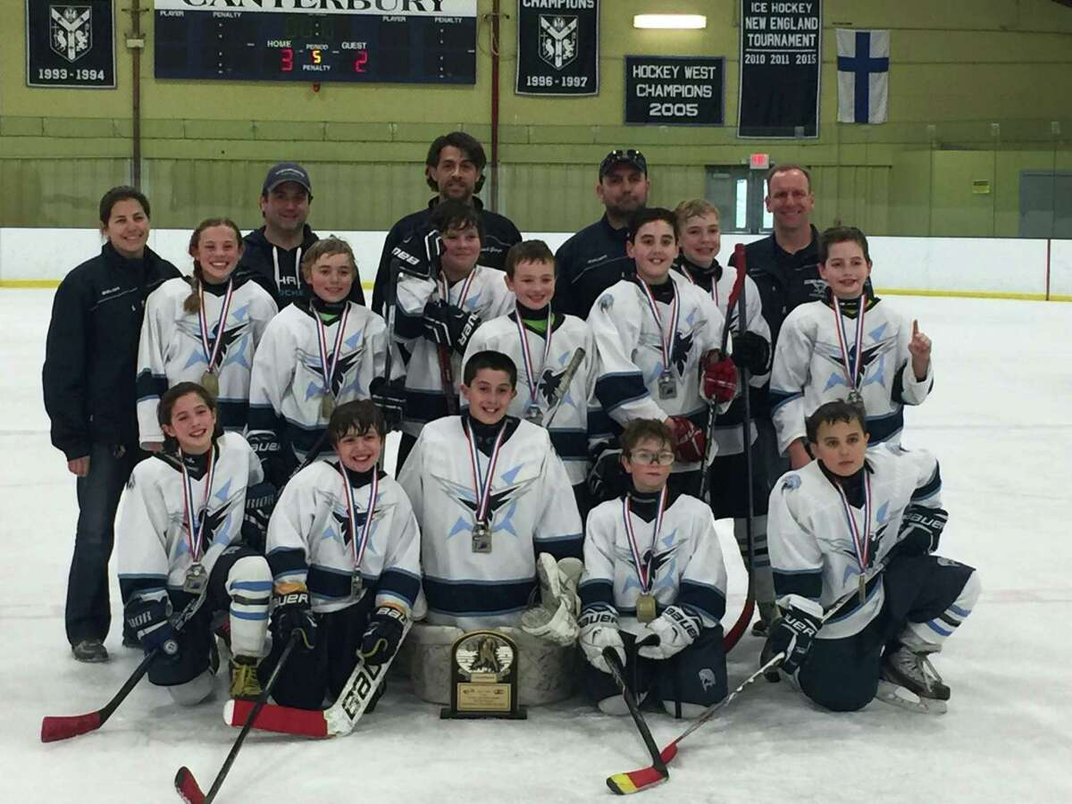 Northwestern Connecticut Youth Hockey in New Milford is shown above. From left in the front row are Avery Trach, Zachary Kappus, Graham Mitchell, Thomas Fader and Bobby LaBonia. From left in the second row are Hannah Nash, Brandon Shaffer, Andre Gamelin, Cole Mollica, Patrick Heslin, Elliott Schemm and Ryan Roberts. From left in the back row are assistant coach Sue Roberts, assistant coach Lee Fader, head coach George Trach, assistant coach George Kappus and assistant coach Pete Heslin. Missing from the photo is team manager Donna Nash.