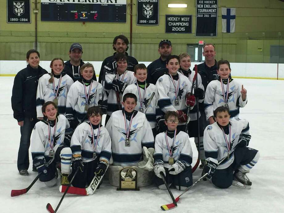 Northwestern Connecticut Youth Hockey in New Milford is shown above. From left in the front row are Avery Trach, Zachary Kappus, Graham Mitchell, Thomas Fader and Bobby LaBonia. From left in the second row are Hannah Nash, Brandon Shaffer, Andre Gamelin, Cole Mollica, Patrick Heslin, Elliott Schemm and Ryan Roberts. From left in the back row are assistant coach Sue Roberts, assistant coach Lee Fader, head coach George Trach, assistant coach George Kappus and assistant coach Pete Heslin. Missing from the photo is team manager Donna Nash. Photo: Courtesy Of Northwestern Connecticut Youth Hockey / The News-Times Contributed
