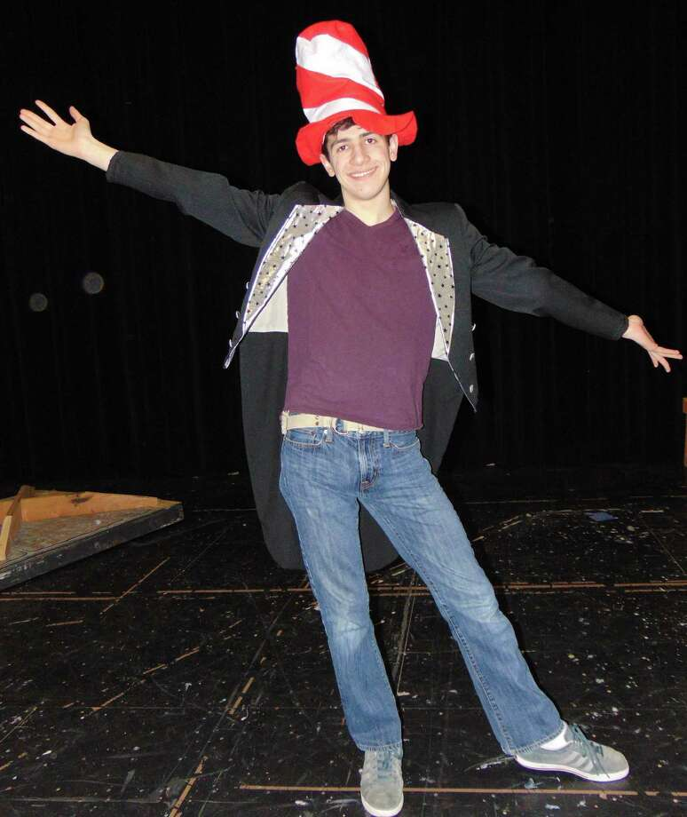 "Shepaug Dramatics will present ""Seussical, the Musical"" in April at Shepaug Valley School in Washington. The full-scale production of the musical will be staged April 1-2 and 8-9 at 7 p.m. at the South Street school. Above, John da Fonte of Roxbury portrays The Cat in the Hat during a recent rehearsal. Photo: Courtesy Of Cheryl Crossley / Copyright 2009"