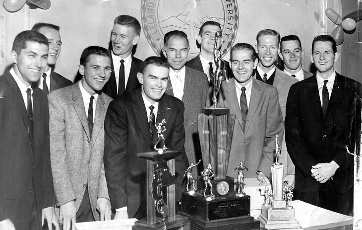 Cal's 1959 NCAA Basketball Tournament championship team front row: Al Buch, Denny FitzPatrick, Bernie Simpson, Dr. Glenn T.Seaborg, coach Pete Newell, Jack Grout Bob Dalton back row: Bill McClintock, Darrell Imhoff, Dick Dougherty,and Jim Langley   Photo ran 03/25/1959, P, 1H (Sports)