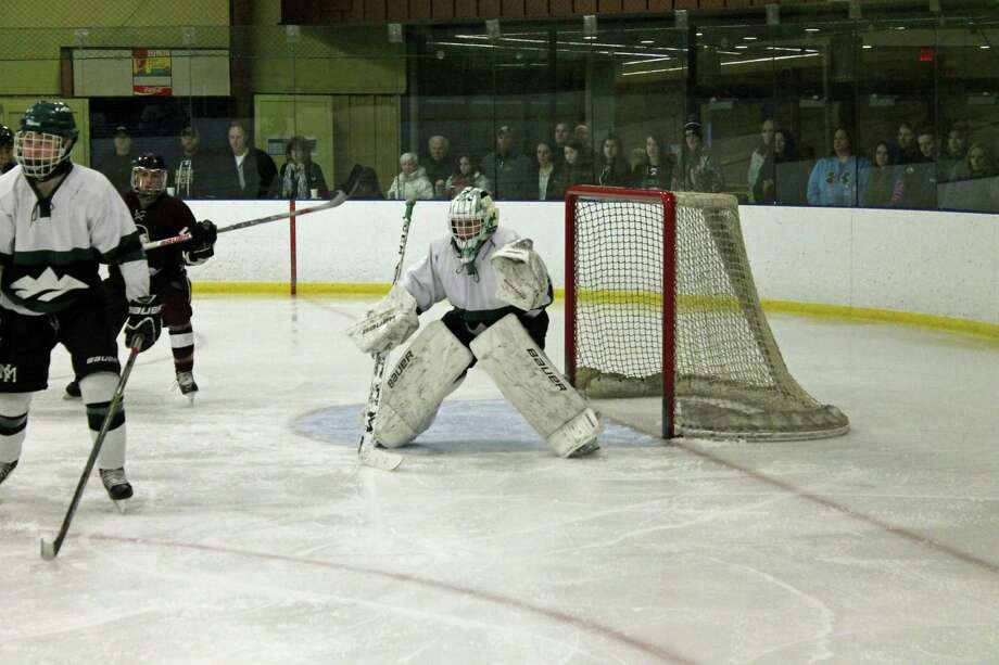 New Milford High School freshman goalie Ben Marano will be back for the Green Wave next season and provide the team with some experience between the pipes. Photo: John Nestor / For Hearst Connecticut Media / Greater New Milford Spectrum