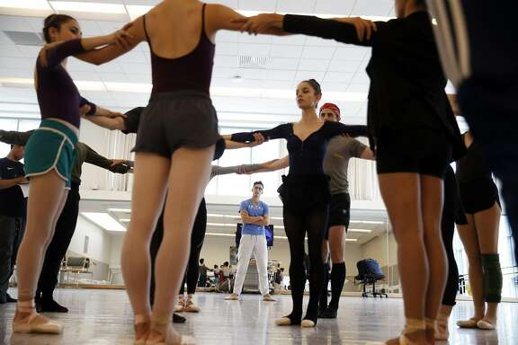 Choreographer Justin Peck of New York City Ballet leads a rehearsal of his first work for the San Francisco Ballet in San Francisco, Calif., on Thursday, Aug. 13, 2015.