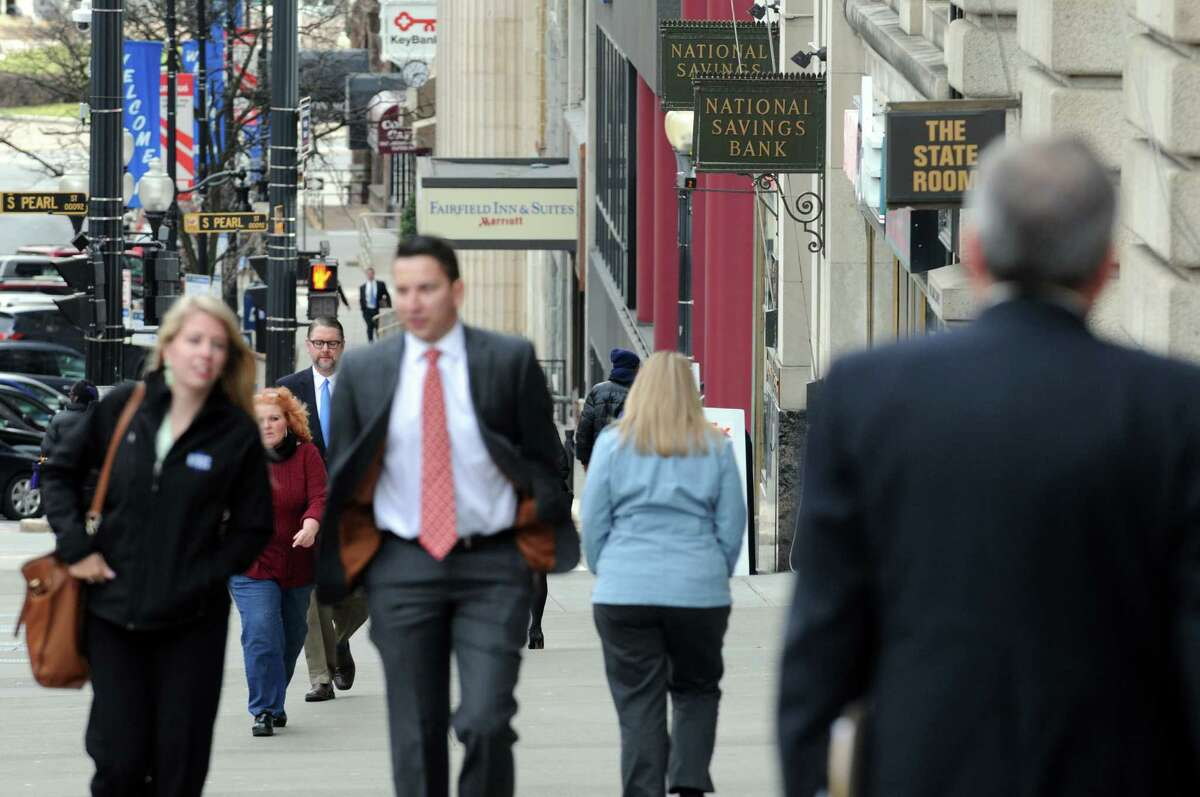 Pedestrian traffic along State Street on Wednesday March 23, 2016 in Albany, N.Y. (Michael P. Farrell/Times Union)