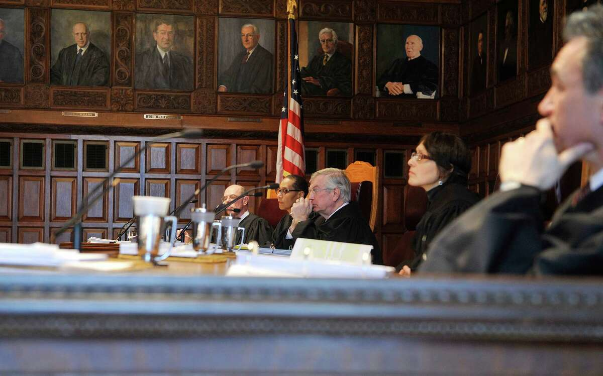 New York State Court of Appeals Judges, from left to right, Judge Eugene Fahey, Judge Sheila Abdus-Salaam, Judge Eugene Pigott, Jr., Judge Jenny Rivera and Judge Michael Garcia listen to arguments dealing with backpay for judges on Wednesday, March 23, 2016, in Albany, N.Y. (Paul Buckowski / Times Union)