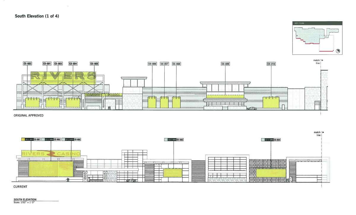 Elevation plan for Rivers Casino at Mohawk Harbor showing a signage. (Provided by the City of Schenectady)