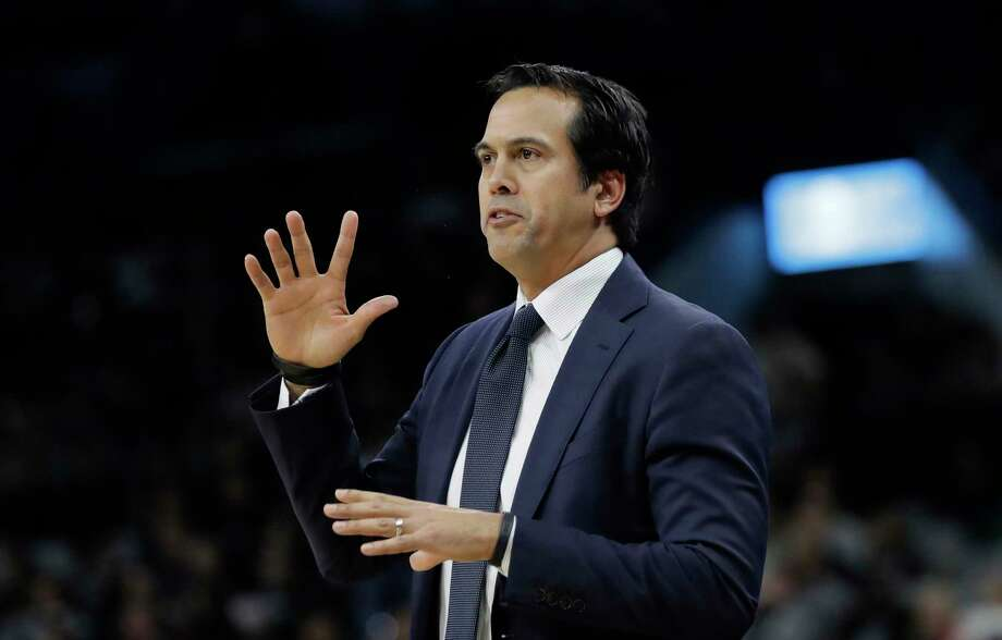 Miami Heat coach Erik Spoelstra signals to his players during the first half of an NBA basketball game against the San Antonio Spurs, Wednesday, Dec. 6, 2017, in San Antonio. (AP Photo/Eric Gay) Photo: Eric Gay, Associated Press / Copyright 2017 The Associated Press. All rights reserved.
