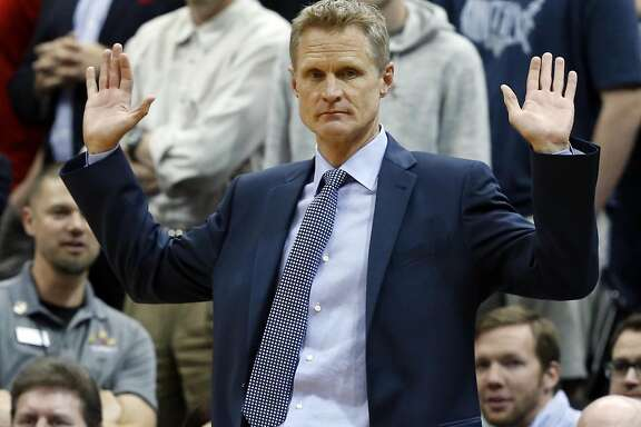 Golden State Warriors head coach Steve Kerr coaches in the second half of an NBA basketball game against the Minnesota Timberwolves Monday, March 21, 2016, in Minneapolis. The Warriors won 109-104. (AP Photo/Jim Mone)