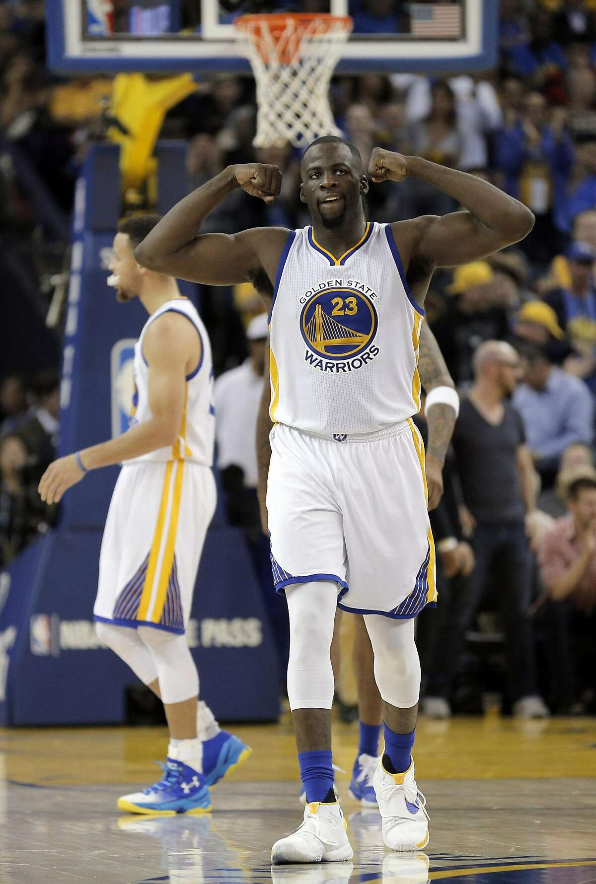 Draymond Green (23) reacts after being fouled on a shot in the second half as the Golden State Warriors played the Los Angeles Clippers at Oracle Arena in Oakland, Calif., on Wednesday, March 23, 2016.