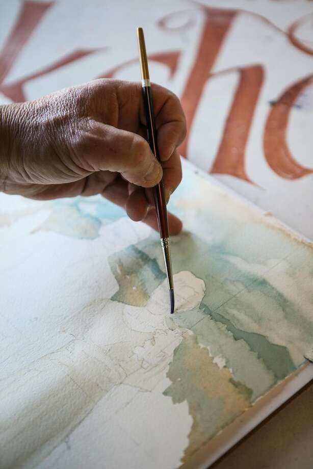 Tony Segale, owner of Double Dip gallery works on a commissioned watercolor piece at his gallery, in Lodi, California, on Monday, March 14, 2016. Photo: Gabrielle Lurie, Special To The Chronicle