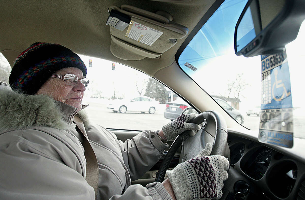 In this Jan . 24, 2014 photo, Dorothy Bierman, 86, makes a right turn while driving in DeKalb, Ill. A new study by the AAA Foundation for Traffic Safety, finds older drivers who constantly fall are 40 percent more likely to have motor-vehicle accidents.