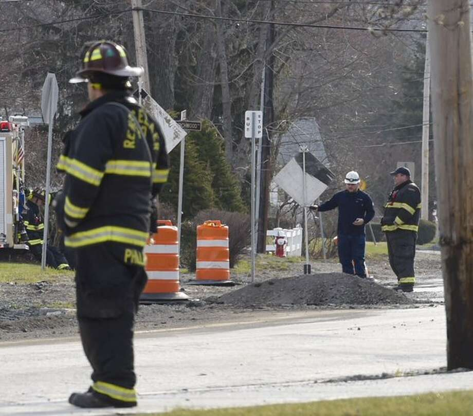 Traffic was rerouted at Elmhurst and Washington avenues in Rensselaer after a gas leak on Thursday. (Skip Dickstein / Times Union)