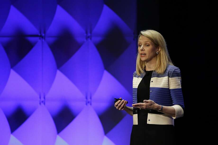Yahoo CEO Marissa Mayer delivers the keynote address Thursday, Feb. 18, 2016, at the Yahoo Mobile Developer Conference in San Francisco. (AP Photo/Eric Risberg) Photo: Eric Risberg, Associated Press