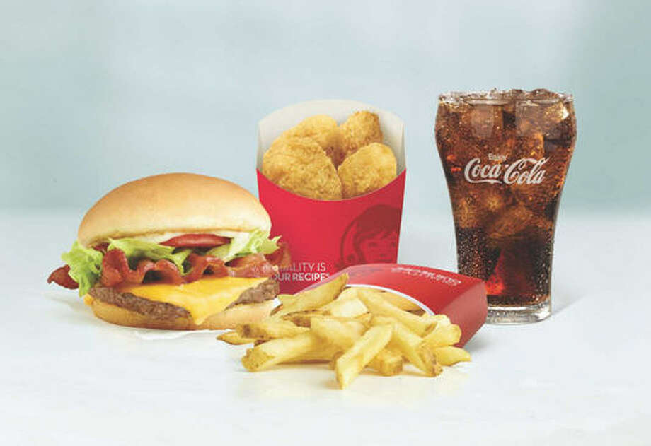 4 for $4 Meal from Wendy's:A Jr. Bacon Cheeseburger, a four-pack of Chicken Nuggets, small fries and small drink.