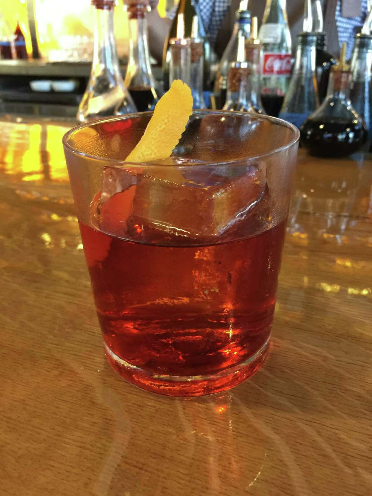 A barrel-aged cocktail at Paramour