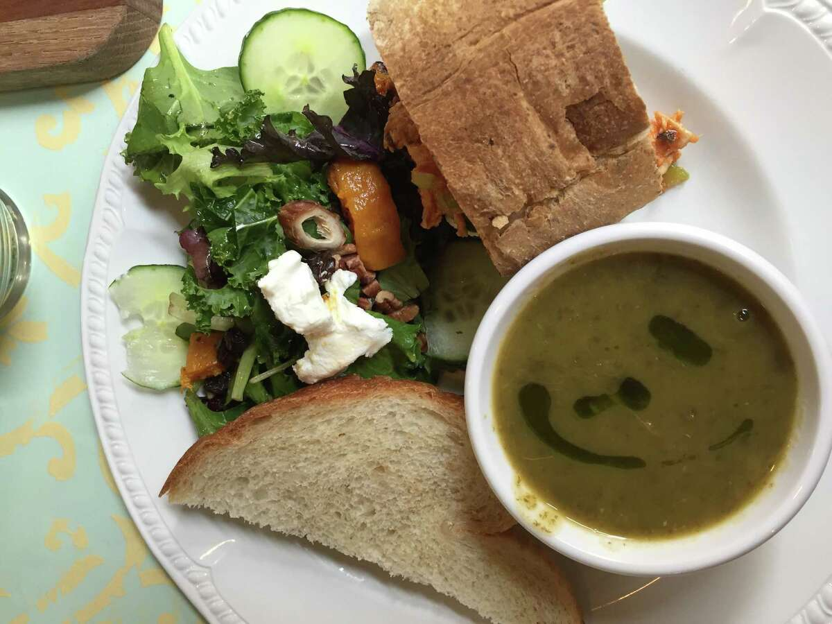 Baker's Lunch at The Bread Box includes half a sandwich, a house salad and cup of soup.