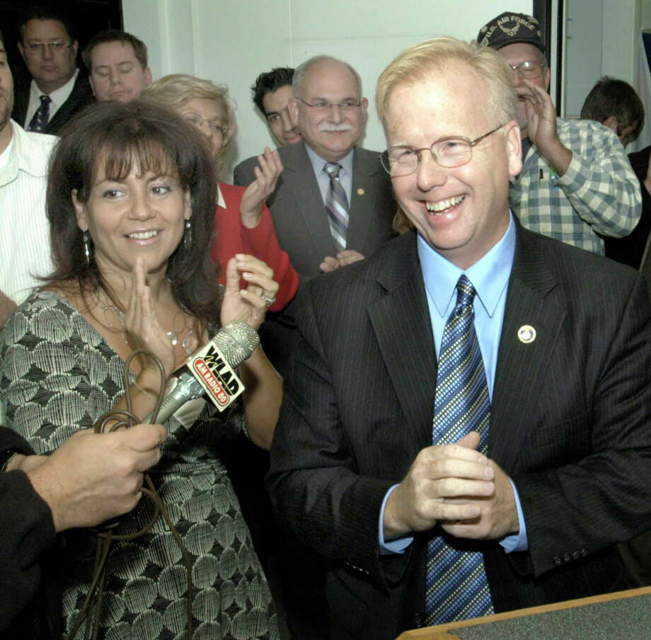 Mayor Mark Boughton with his wife Phyllis thanks supporters Tuesday night at Republican Headquaters on Main St in Danbury Photo: Carol Kaliff