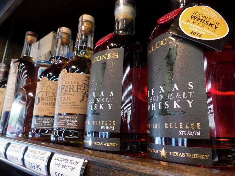 Ranger Creek .36 Texas Bourbon Whiskey, Ranger Creek Rimfire Texas Single Malt Whiskey and Balcones Texas Single Malt Whisky Photo: Billy Calzada /San Antonio Express-News / San Antonio Express-News