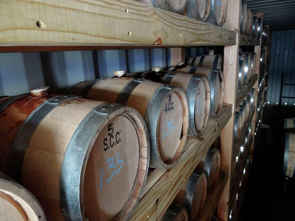 Small barrels of bourbon