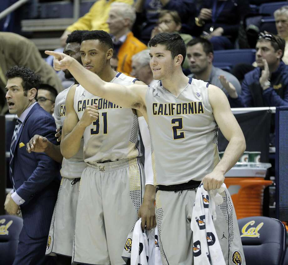 Sam Singer (2) and Stephen Domingo (31) gesture to teammates from the bench in the second half as the Cal Bears played the Seattle University Redhawks at Haas Pavilion in Berkeley, Calif., on Tuesday, December 1, 2015. Cal won 66-52. Photo: Carlos Avila Gonzalez, The Chronicle