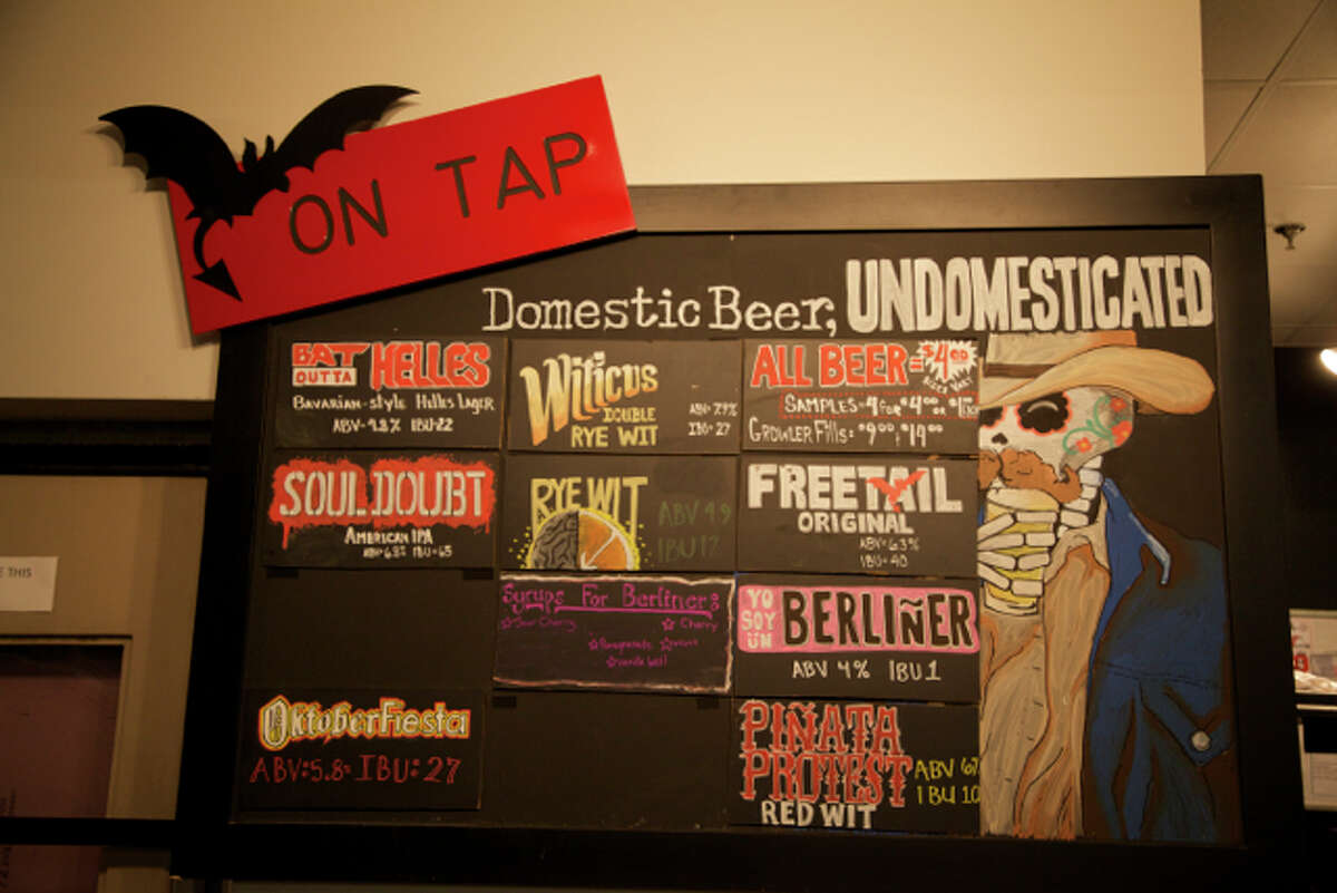 Sign showing some of the beer selection at Freetail.