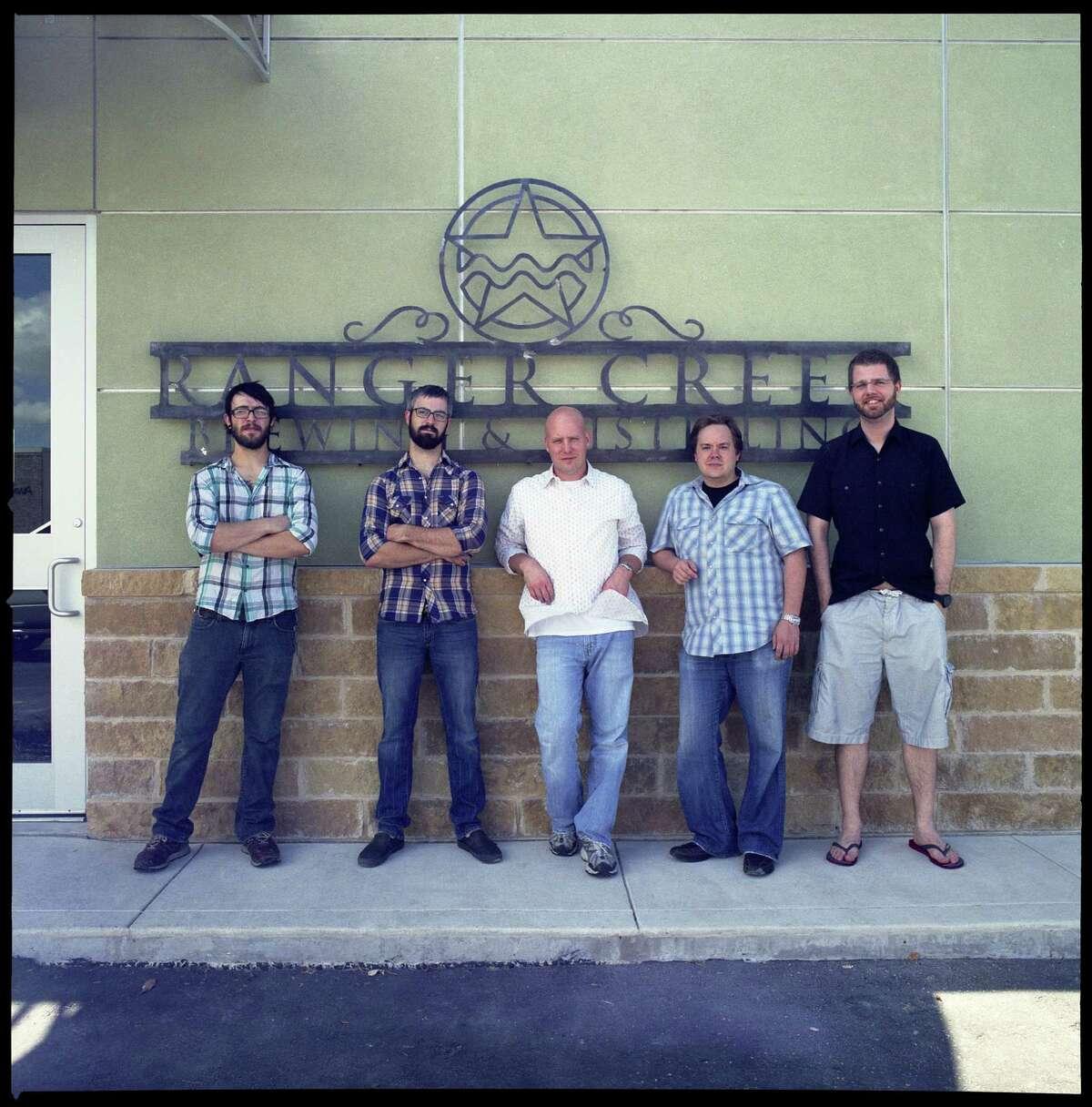 The Ranger Creek Brewing & Distilling team includes Pete Landerman (from left), assistant brewer; Rob Landerman, head brewer; T.J. Miller, co-founder/head distiller; Mark McDavid, co-founder/marketing; and Dennis Rylander, co-founder/finance.