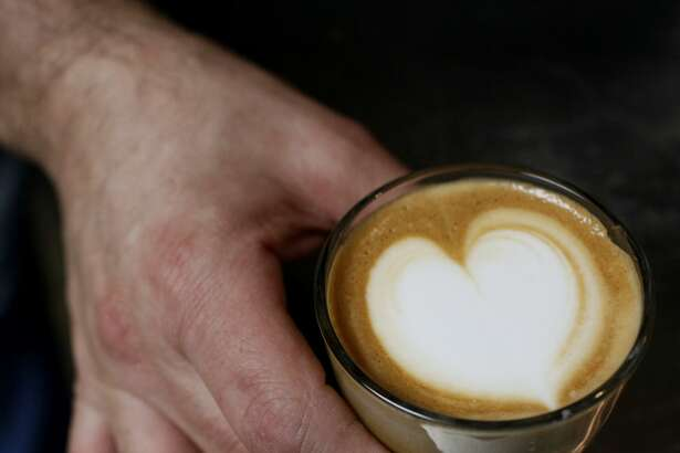 Aaron Blanco, owner of The Brown Coffee Co., displays a Cortave, made with espresso, agave nectar and milk.