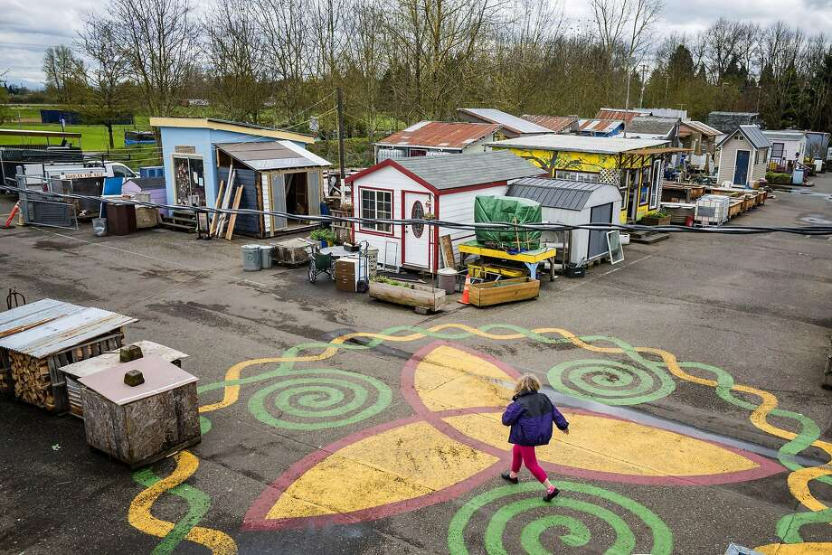 Dignity Village is a housing community for the formerly homeless that consists of 43 units and can house as many as sixty people at any given time Wednesday, March 23, 2016, in Portland, Oregon. Dignity Village began as a tent camping protest in 2001 before moving to the current site and being sanctioned by the Portland City Council as a tiny house village in 2004. Photo: Christopher Onstott, Special To The Chronicle
