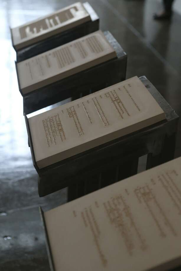 These casted tablets were made with an embedded text that derives from the Universal Declaration of Human Rights — in an art work on display at Artpace by Artpace International Artist-in Residence Adriana Corral in 2016. At this moment in history, we seem to be forgetting the words. Photo: John Davenport /San Antonio Express-News / ©San Antonio Express-News/John Davenport