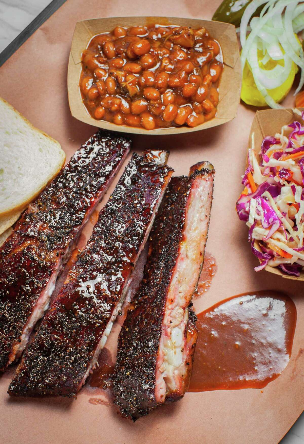 A display of barbecue and sides at Killen's Barbecue