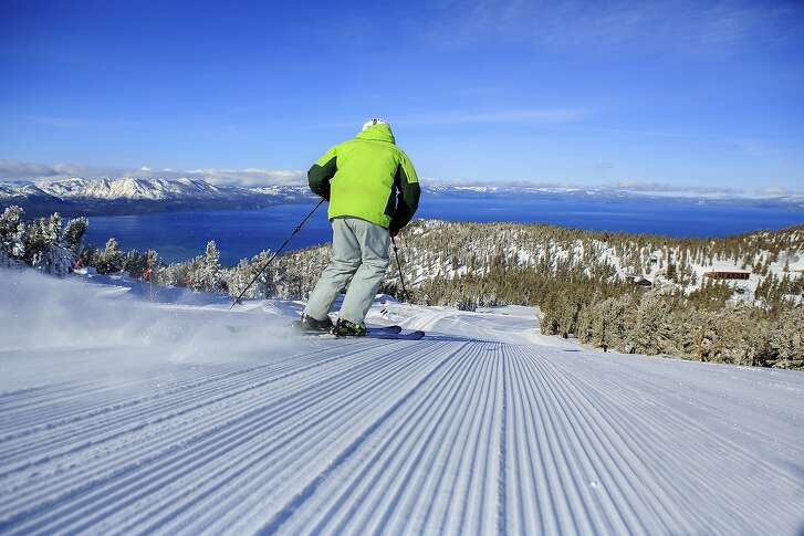 "Sailing down from the top at 10,000 feet at Heavenly at South Lake Tahoe, ahead of you can be ""miles of corduroy,"" or groomed runs first thing in the morning, while Lake Tahoe looms in the distance"