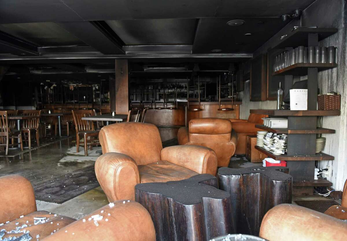 An early morning fire caused extensive damage to Barcelona Restaurant and Wine Bar at 18 West Putnam Ave. in Greenwich, Conn. Thursday, March 24, 2016. The call came in just after 5 a.m. and the scene was determined to be under control at 6:28 a.m. Nobody was injured in the blaze and no adjoining buildings were damaged.