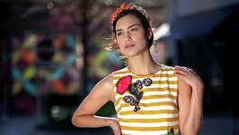 Sandra Caliano of Neal Hamil Models is wearing a Dolce & Gabbana dress and headband. Price TK; from Dolce & Gabbana at River Oaks District. Hair/makeup by Tree Vaello and fashion styling by Joy Sewing, Friday, Feb. 26, 2016, in Houston, Texas. LUXE LIFE -HOUSTON CHRONICLE SPRING FASHION SHOOT ( Gary Coronado / Houston Chronicle )