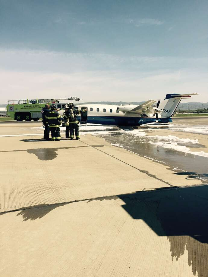 This turboprop plane with four people aboard made an emergency landing just before noon on Thursday at Mineta San Jose International Airport. The aircraft's landing gear collapsed on touchdown, but no one was reported injjured