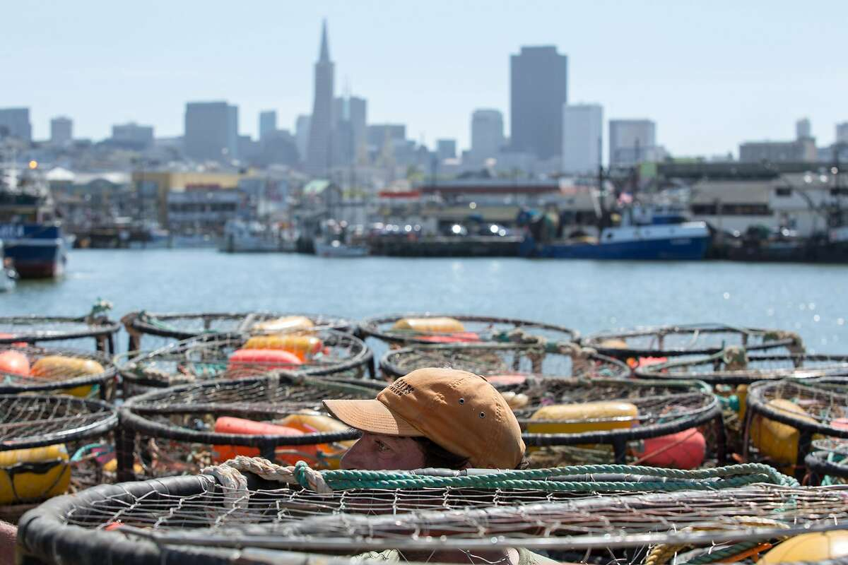 Deckhand Steve Manley prepares crab pots on the fishing vessel, The Medallion, at Pier 45 in 2015.