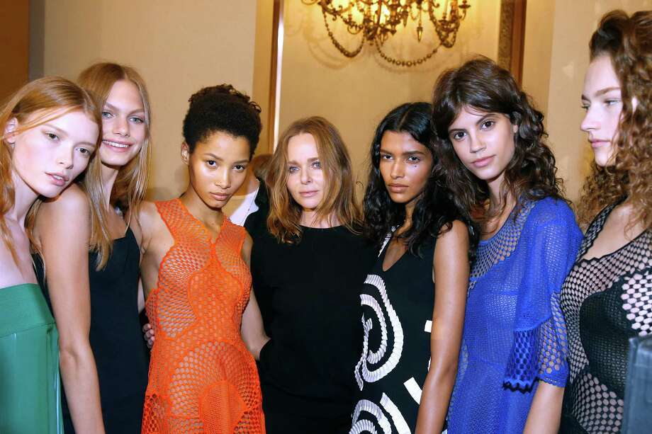 Designer Stella McCartney and her models pose backstage after the Stella McCartney show as part of the Paris Fashion Week Womenswear Spring/Summer 2016. Photo: Bertrand Rindoff Petroff, Contributor / 2015 Bertrand Rindoff Petroff