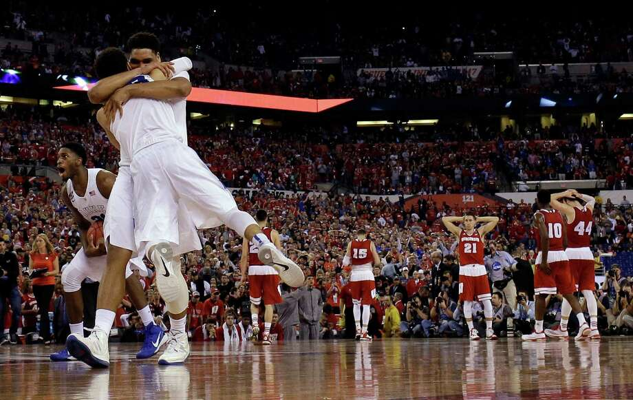 Duke players celebrate after the 2015 NCAA championship game against Wisconsin in Indianapolis. Photo: David J. Phillip, STF / AP