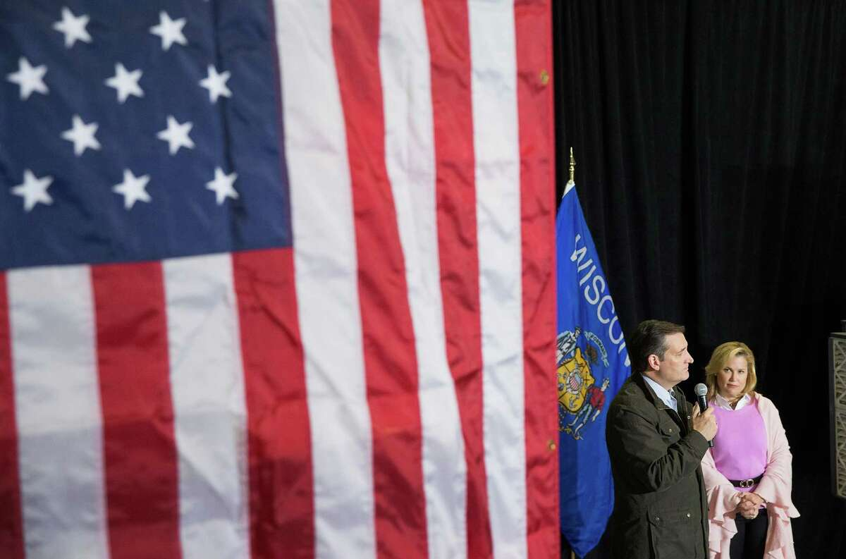 DANE, WI - MARCH 24: With his wife Heidi by his side, Republican presidential candidate Sen. Ted Cruz (R-TX) speaks to workers at Dane Manufacturing during a campaign stop on March 24, 2016 in Dane, Wisconsin. Wisconsin voters go to the polls for the state's primary on April 5.