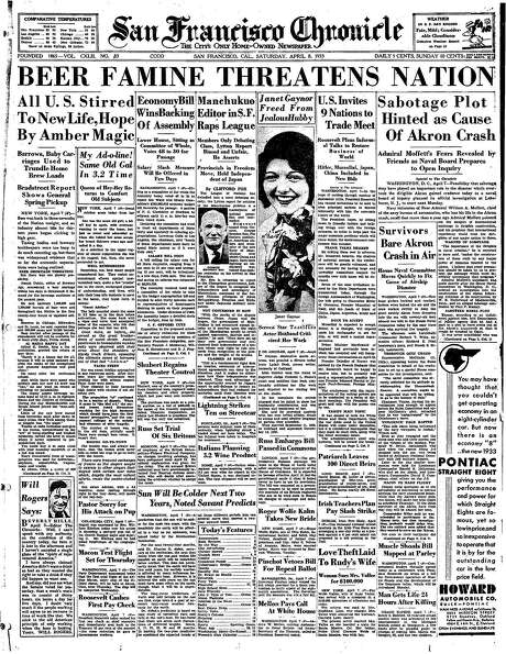 The Chronicle's front page from April 8, 1933, covers the threat of a national beer shortage one day after the foamy beverage again became legal.