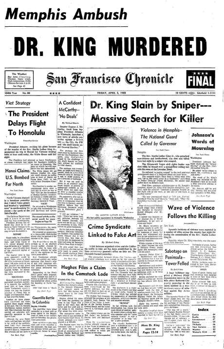 The Chronicle's front page from April 5, 1968, covers the assassination of the Rev. Martin Luther King Jr.